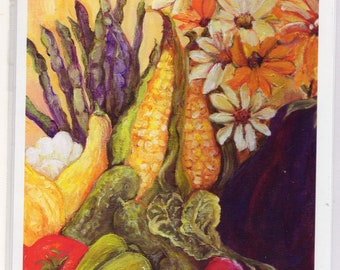 Watercolor greeting card - Vegetables, daisies  5 x 7, Culinary, kitchen, dining art print,  squash, corn, tomatoes, radishes, eggplant
