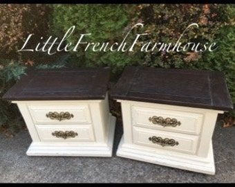PAIR of End Tables or Night Stands JAVA stained Thick Wood Top - French Farmhouse Transitional Beach Cottage Coastal MCM