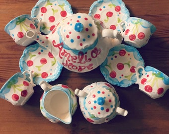 Cherries & Polka Dots Tea set Personalized for Little girls //  child's sized Tea Set, Handpainted, Custom, Personalized