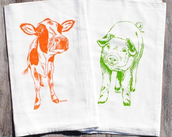 Cotton Dish Towel Set of 2 - Screen Printed - Flour Sack Pig Cow Dish Towels - Towels for Dishes - Farm Animal Kitchen Linens