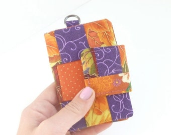60 PERCENT OFF cute cardholder womens wallet. autumn fall fabric credit card organizer. teen girl gift. orange purple business card case