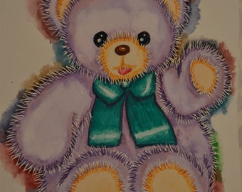"""Watercolor Teddy bear """"POUM"""" Purple plush with a Green bow, paint Opal Isis on Etsy"""