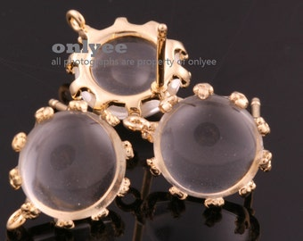 1pair/2pcs-10mm Gold plated Brass,Faceted Round Glass Earring, post earrings-Clear(M340G-C)