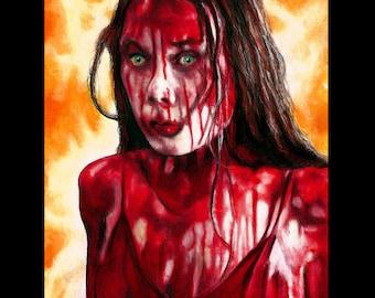 "Print 8x10"" - Carrie - Horror Stephen King Blood Pig Red Dark Art Vintage 70s Prom Night High School Telekinetic Scary Gothic Pop Art"