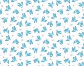 Quilting Cotton - Lewis & Irene - So Darling - Flying Blurbirds on Cream - 1/2m piece