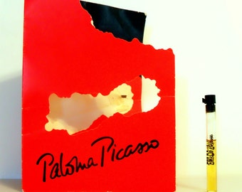 Vintage 1980s Paloma Picasso by Paloma Picasso 0.05 oz Eau de Toilette Sample Vial on Card PERFUME