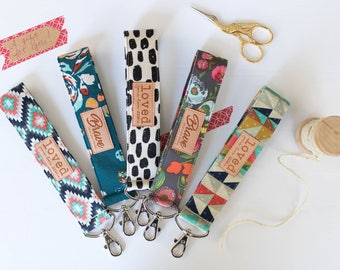 Key Fobs, Set of 5 | Wrist Strap Keychains, Choose Loved and Brave
