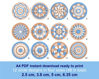 Geometric shadow mandala digital circles printable collage sheet, 12 designs 4 sizes, teal and brown paper crafts cards scrapbooking SC-TB-1