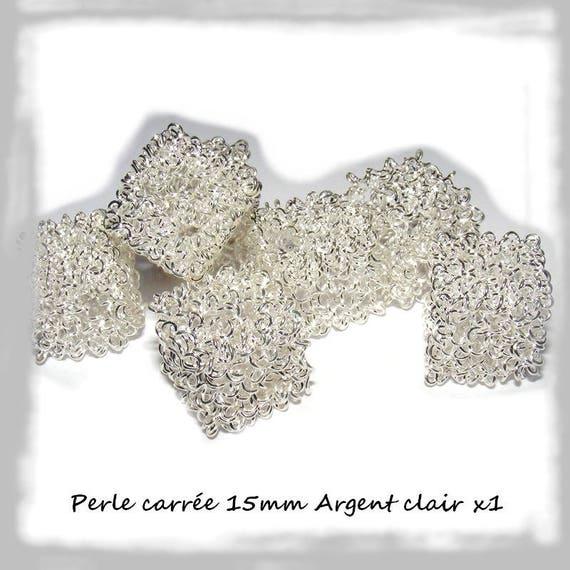 LAST batch - Perle cube 15mm silver wire light x 1