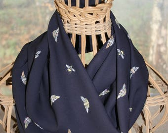 Moths & bees eternity scarf, handmade, black chiffon scarf, gift for her, loop scarf, steampunk, insects, unique gift idea, birthday gift