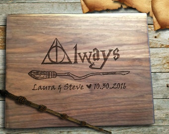 Harry Potter Cutting Board: Personalized Cutting Board, Deathly Hallows, Harry Potter Always, Custom Wedding Gift Bridal Shower Gift, Gifts