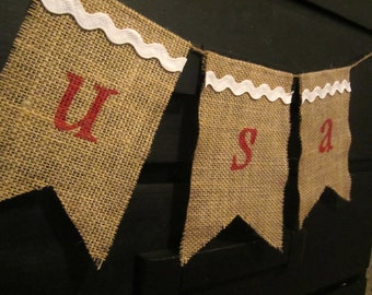 CLEARANCE Olympics 4th of July USA Red, White, and Blue Burlap Bunting/Banner