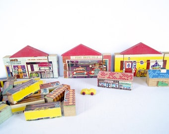 Gaston Mfg Changeable Building Blocks, RARE Wood Wooden Toy Blocks Fire Station, Log Cabin, House, Service Station, Gaston Wood Block Puzzle