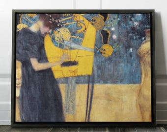 """Gustav Klimt """"Music"""" Framed Reproduction Gustav Klimt Art Print on Canvas Painting in a Frame - Ready to Hang. (FC-GKL-06)"""