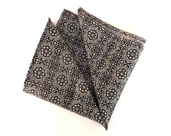 Black pocket square, mens pocket square, wedding handkerchief