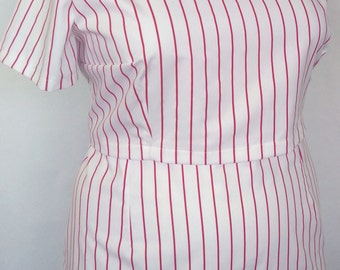 NEW! Red White Stripe Twill Weave Top PLUS SIZE Size 18 20 22 24 26 28 30