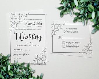 DIY Wedding Invitations - Vintage Wedding Invitation Suite - Printable - Heart Swirls Wedding Invitation Set - Elegant Wedding Invites