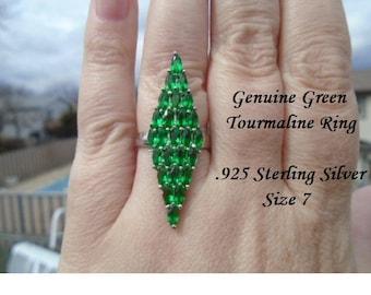 Genuine Green Tourmaline, Kunzite, Mystic Topaz Or Golden Citrine  Ring