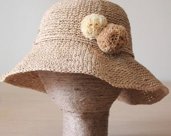 Raffia sun hat, Sun hat womens, Straw hat, Crochet beach hat, Bucket hat, Adjustable sun hat, Packable sun hat