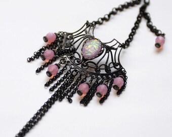 Gothic Hand Flower Bracelet, Slave Bracelet, Neo Victorian Jewelry, Simulated Opal Bracelet, Pink and Black Bracelet, OOAK Unique, SRAJD