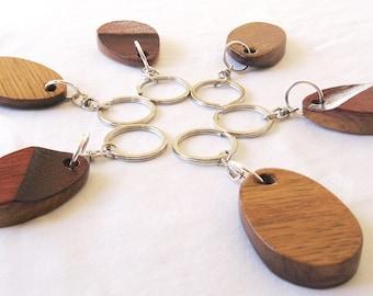 Drops keychain little morsel of recycled oak wine barrel top