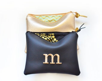 Personalized Gift for Women Idea for Her Monogram Clutch Set Purse Custom Pouch Gold Black Faux Leather Metallic Bag Wedding Mother's Day