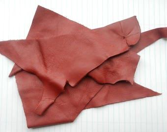 Red Garnet Leather Scraps