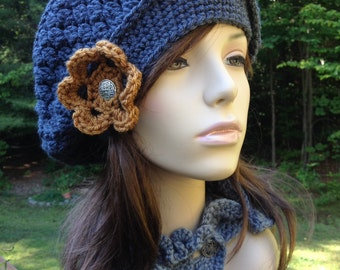 Slouchy Beret with Flower and Vintage Button