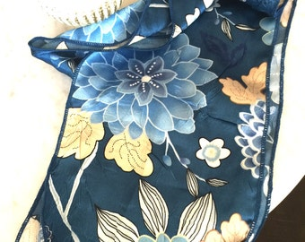 Vintage Blue Floral Silky Scarf