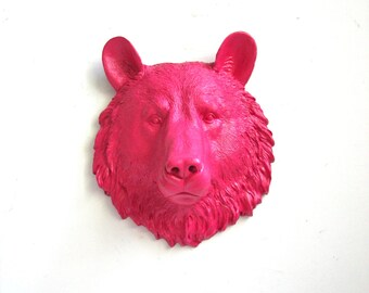 HOT PINK Small Faux Taxidermy Bear Animal Head home decor kids room decor wall hanging: in hot pink