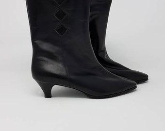 1960er Jahre NOS Mod Stiefel - schwarzes Leder Stiefel - Vintage Mod Stiefel  - 1960er Jahre