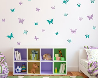 Butterfly Wall Decals   Set Of 28 Butterflies   Girl Bedroom Decal   Girl  Decor