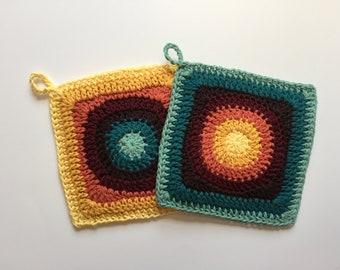 Set of 2 • Early Autumn Inspired Handmade Crochet Cotton Potholders