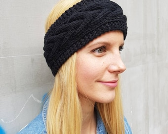 Black ear warmer headband, knit headband, Christmas gift for her, gift for girlfriend, knitted headband, winter accessories, winter headband