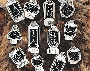 Zodiac Sign Stickers Hand Drawn Design Celestial Leo Aries Virgo Scorpio Libra Virgo Sagittarius Cancer Aquarius Gemini Capricorn Art