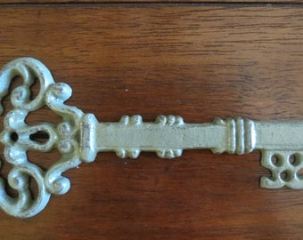 Wall Skeleton Key Decor or Paperweight /Cast Iron Key/ Vintage Inspired/ Sage Green or Pick Color/ Shabby Chic Wall Decor/Housewarming Gift