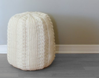 "DIY Knitting PATTERN - Cable Knit Footstool  Size: 13"" diameter x 17"" tall (2015018)"