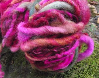 Handspun yarn, handpainted,Super Bulky Thick and Thin Art Yarn, Burly Spun Felted  wool art yarn-Painting Roses