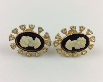 Vintage Coro Cameo Gold Tone Screw Back Earrings 1""