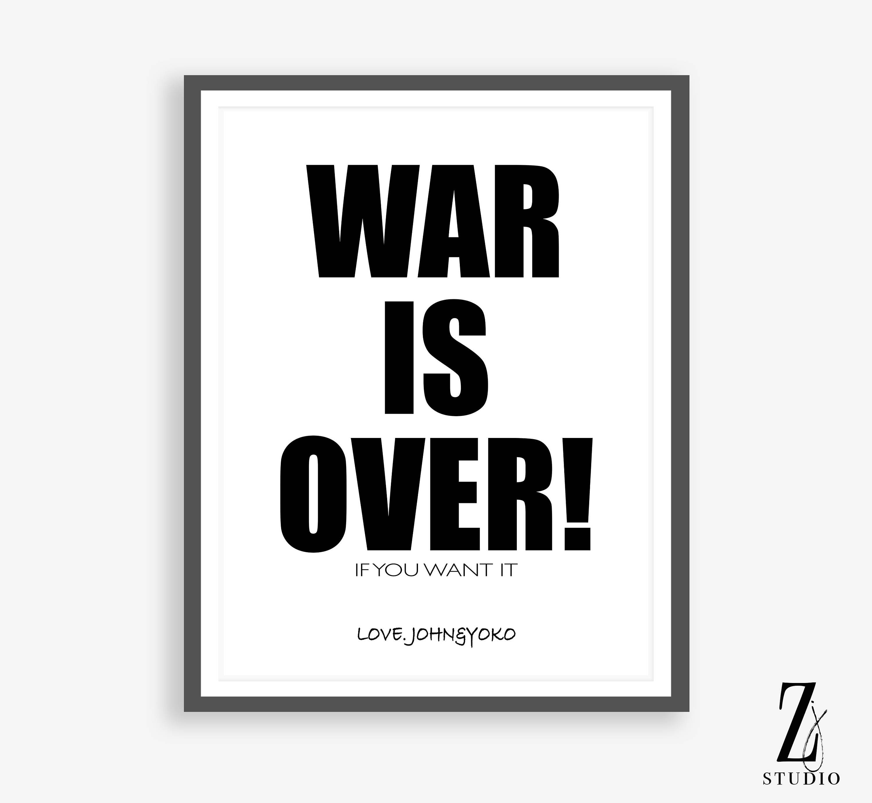 City Of Ember Quotes And Page Number: War Is Over Print War Is Over Sign John Lennon Quote Boho