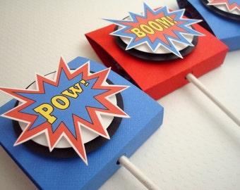 Super héros Lollipop Party Favors, rouge et bleu, ensemble de dix