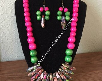 Wooden Beaded w/Clay Center Stones Earrings and Necklace Set