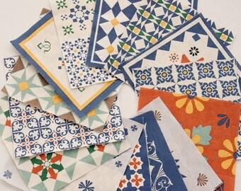 Scandinavian Nordic Swedish Vintage Iznik Design Fabric Panel, 18 Designs Fabric Package AA04