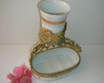 Vintage Baroque Ormolu Soap Dish Cup Holder Elegant Brass Porcelain Matson Stylebuilt Era by VintageReinvented