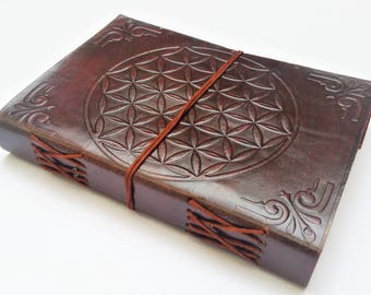 Leather journal, Flower of Life Journal, Refillable Notebook, Diary, Mandala notebook, Sketchbook.