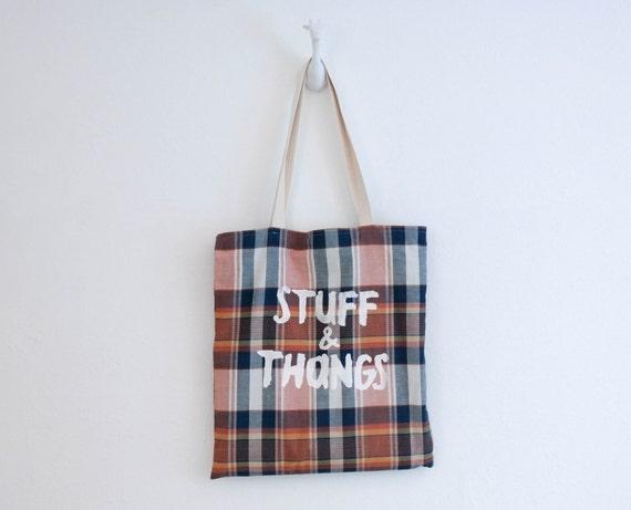 Stuff & Thangs Tote Bag - Plaid