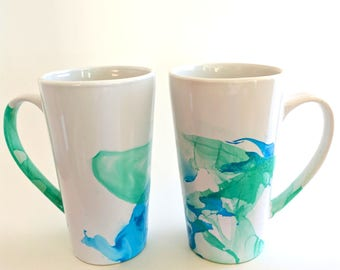 Set of blue and green marble dipped mugs