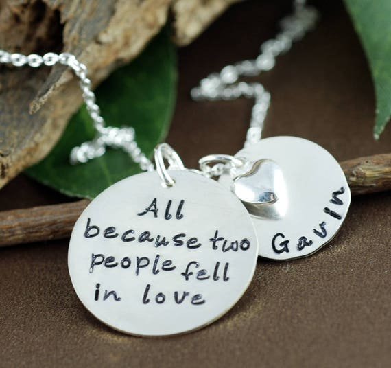 All Because Two People Fell In Love, Hand Stamped Necklace, Personalized Jewelry, Mommy Necklace, Sterling Silver Jewelry, Gift for Her