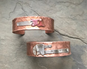 Antique tools sterling silver and recycled copper Copper cuff bracelets, modern, unique, Father's Day gifts