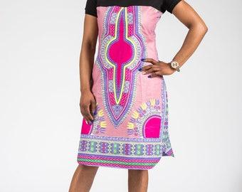 African Dashiki Print Dress with round neck